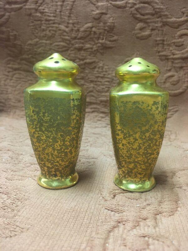 "Gold Encrusted Salt and Pepper Shaker Set, Vintage Pickard Stouffer Style 3"""