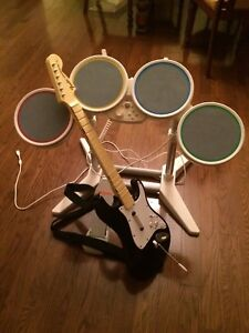 Nintendo Wii Rockband Drum-set and Guitar
