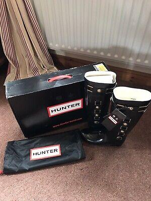 Hunter Black Regent Hurlingham Gloss Rubber Rain Boot Size 6