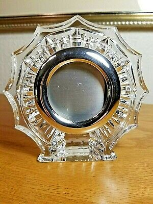 Vtg.WATERFORD Crystal-Silverplate Small Mini Picture/Photo Holder Frame