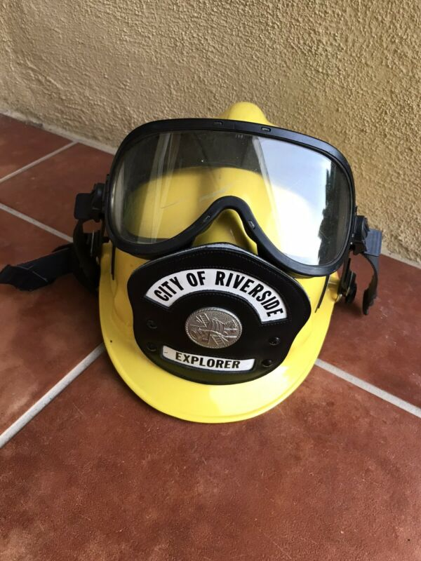 Yellow Fire Fighter Fireman Helmet Used Firefighter Dept.
