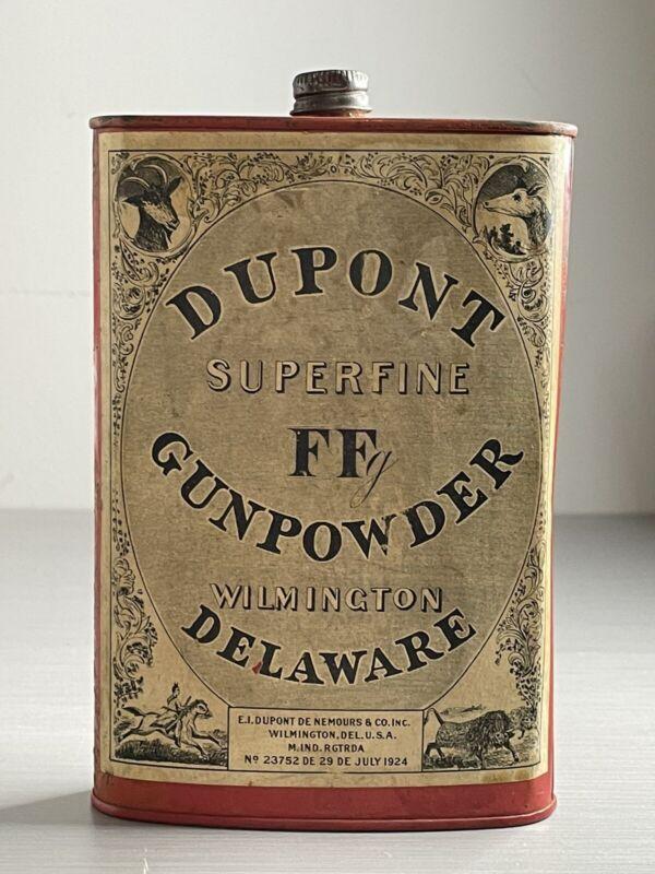1924 Dupont Superfine FF Gunpowder Tin - Paper Label