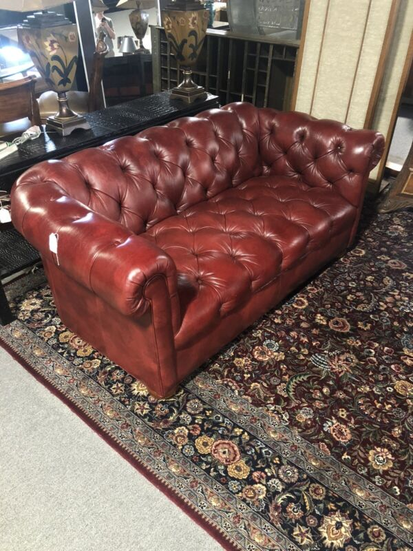 Ethan Allen Leather Tufted Chesterfield Loveseat
