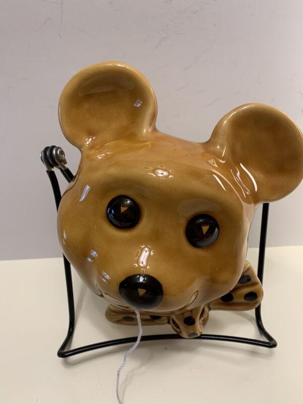 Vintage Collectible Teddy Bear Ceramic String Holder Scissors Holder