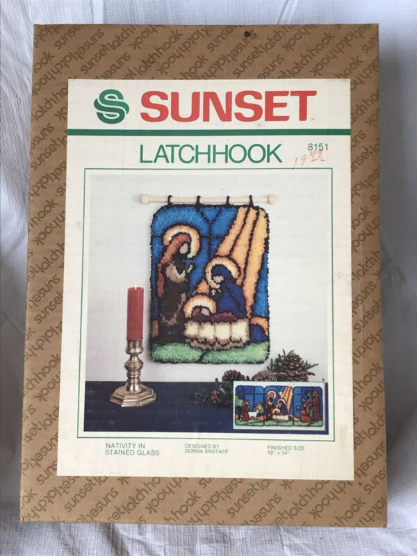 Nativity In Stained Glass 1981 Sunset Latch Hook Kit #8151 Christmas Religious