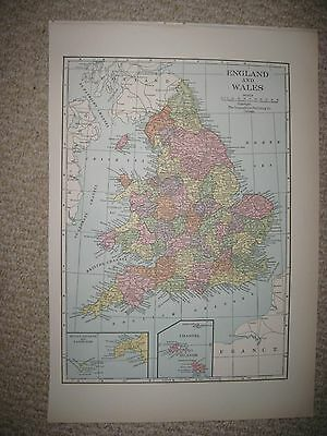 SUPERB ANTIQUE 1930 ENGLAND WALES CHANNEL SCILLY ISLANDS LANDS END MAP DETAILED