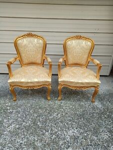 PAIR OF GILT ORNATE FRENCH BAROQUE LOUIS FAUTEUIL CARVED GOLD A