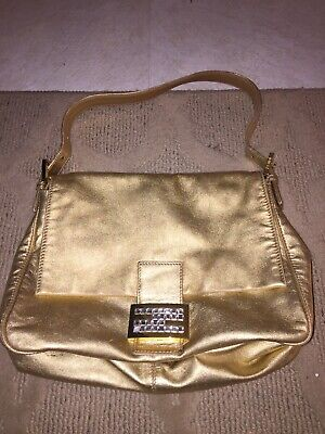 Iconic Gold Crystal Sex And The City Fendi Mama Baguette -