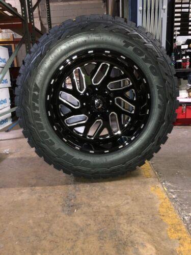 """20"""" 20x10 Fuel D581 Triton Black Wheels 35"""" F Toyo Rt Tires 8x170 Ford F250 F350"""