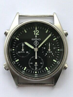 VINTAGE 1980s SEIKO GEN 1 CHRONOGRAPH 7A28 7120 MILITARY RAF JET PILOTS WATCH