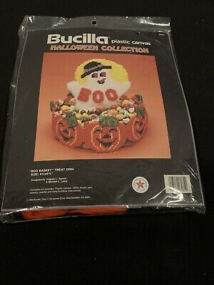 "Bucilla Plastic Canvas Kit ""Halloween Collection"" Boo Basket Treat Dish 6035"