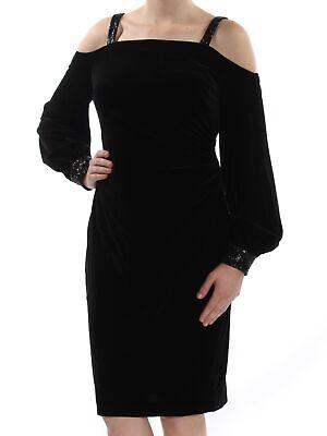 RALPH LAUREN Womens Black Sequined Shift Cocktail Dress Regular Size: M