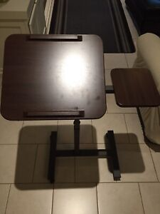 Sit-Stand desk cart w/ side table