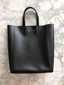 Authentic CÉLINE Black Leather Small Cabas Handbag