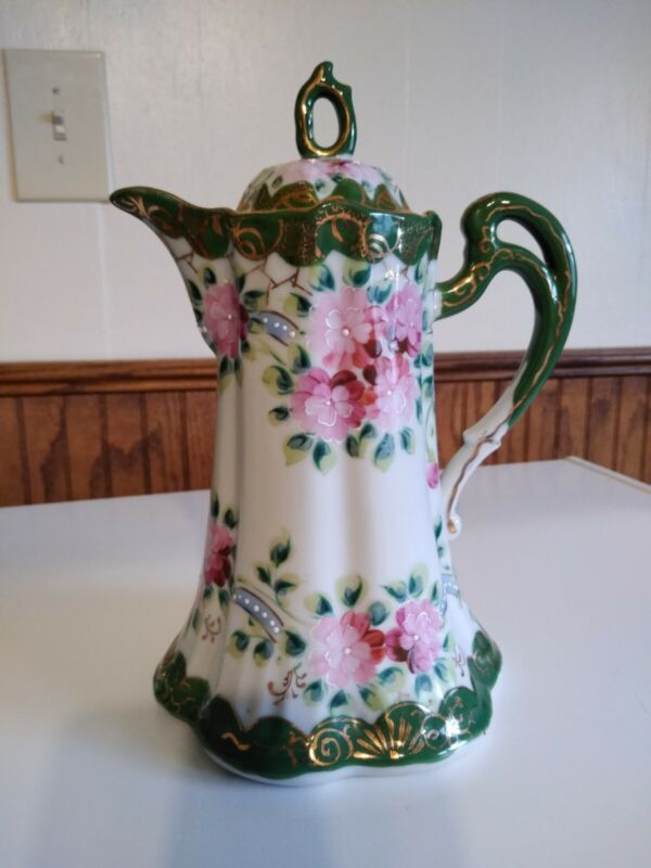 Antique/Vintage Japanese Green and Pink moriage Chocolate Pot