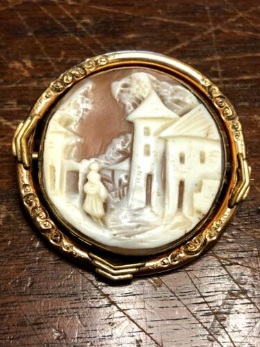 ANTIQUE VICTORIAN GOLD PLATED / FILLED MOURNING SWIVEL CAMEO HAIR PIN BROACH