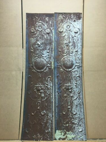 "2 pc 41"" x 9.5"" Flat Antique Ceiling Tin Vintage Reclaimed Salvage Art Craft"