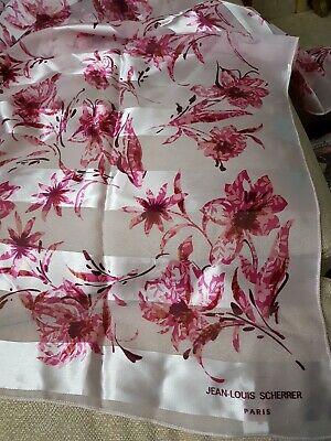 Ladies Jean-Louis Scherrer Pink Flowery Scarf 37inch Square