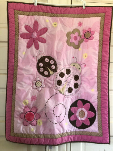 Just Born Crib Quilt Ladybugs & Flowers in Pinks & Browns