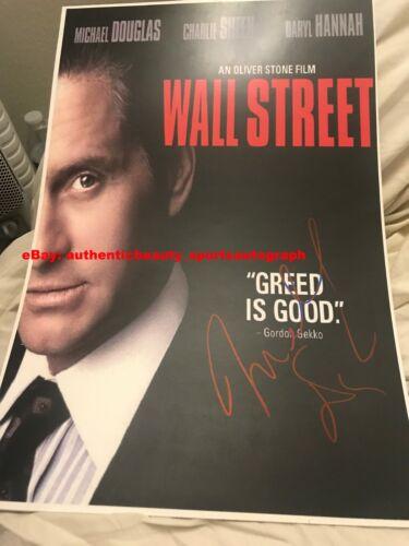 WALL STREET 1987 MICHAEL DOUGLAS GORDON GEKKO SIGNED MOVIE POSTER 12x18 REPRINT