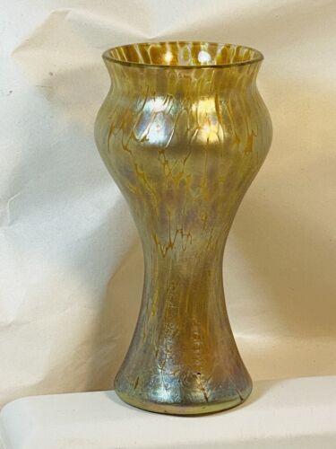 "Kralik Peach or Champagne Oil Spot 5 1/4"" Vintage to Antique Bohemian Glass Vase"