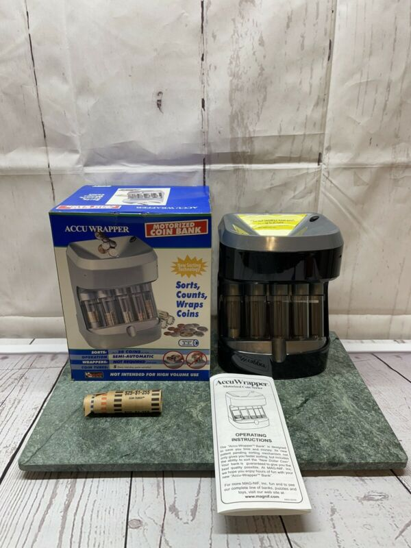 MagNif Accu Wrapper Motorized Coin Sorter Bank Model 4840 Hard to Find - Works