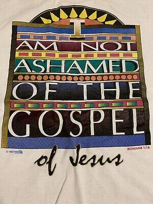 Christian Vintage T-shirts (Vintage Jesus Christian Religious 1996 I Am Not Ashamed Mens T Shirt Medium M)