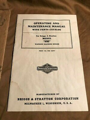 Vintage 1950 Briggs Stratton Model-wmb Washing Machine Engine Manual