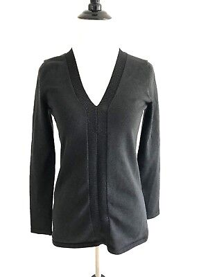 Cable & Gauge Womens Silk Top Size M Black Metallica V-neck Sweater Stretch  for sale  Shipping to Canada