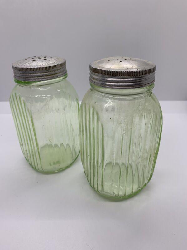 Vintage Vaseline Glass Salt And Pepper Shakers