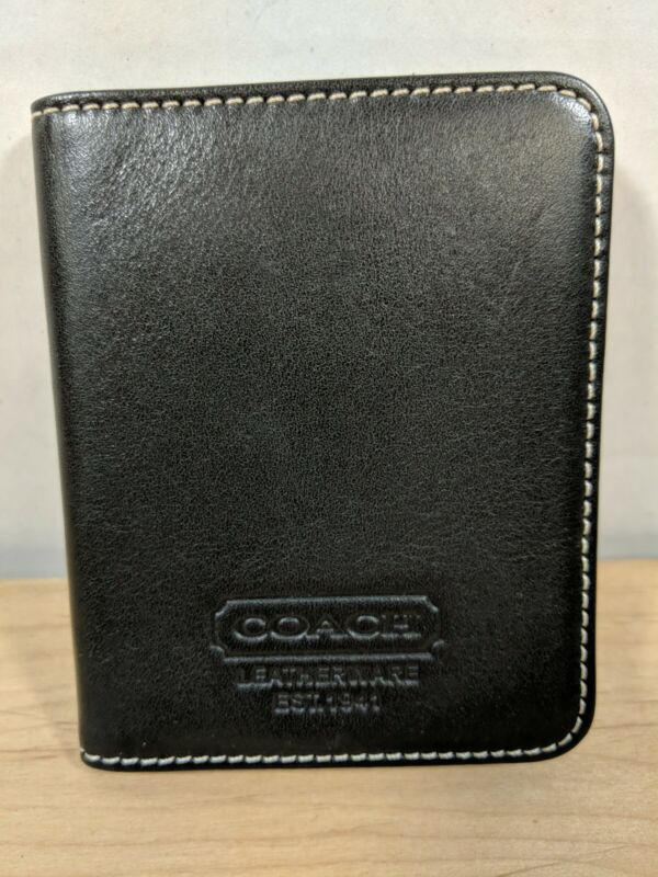Black Leather Coach Business Card Holder