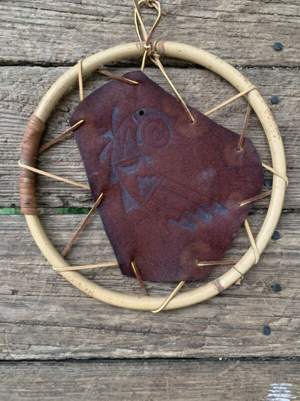 Vintage American Indian Feather Mullan Hand Stamped Leather Dream Catcher ❤️sj8j