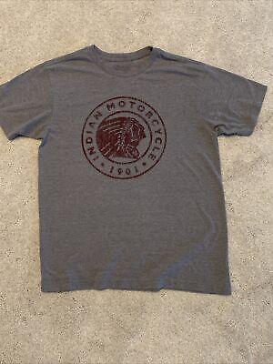 Mens Indian Motorcycle T-shirt Gray W/Head Logo Size Medium