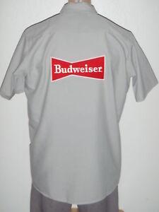 Budweiser-Beer-NEW-Medium-Red-Kap-Vintage-Work-Shirt-w-YOUR-Name-Patch