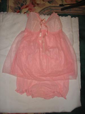 Vintage Unique Set Pink Sheer Nylon Lace Baby Doll Short Slip Panty Panties 36