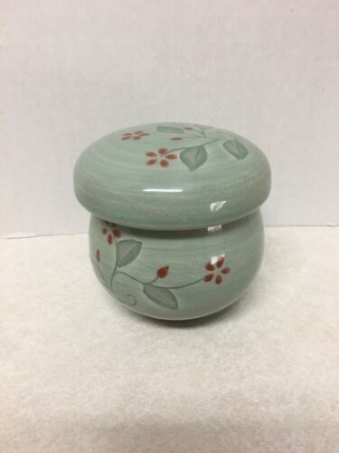 Vintage Asian Crackle Glaze Celadon Red Flowers Tea  Cup With Lid And Infuser