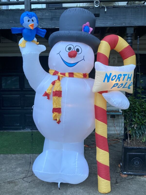 Airblown Inflatable Frosty the Snowman with North Pole Sign and Blue Bird 8