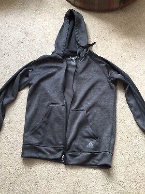 Adidas Grey Zip Up Hoody Fleece Inner Uk M 12/14