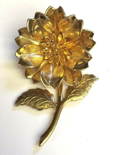 """VINTAGE GOLD TONE FLOWER ON STEM WITH LEAVES 2 1/4"""" X 1 1/2"""" TEXTURED AND SHINY"""