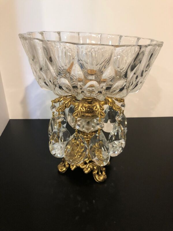 Hollywood Regency Crystal Antique Compote Bowl Facet Pedestal
