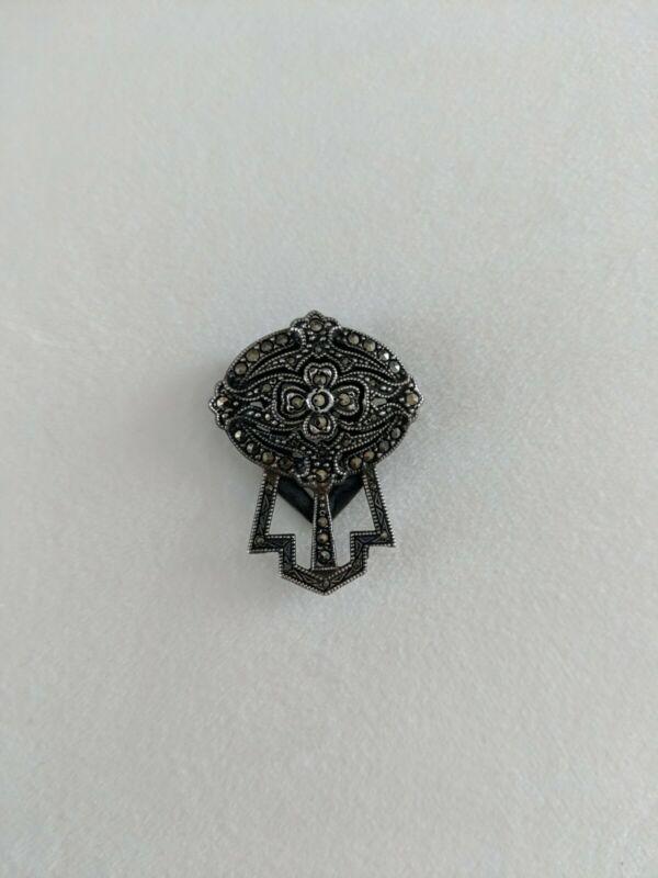 Vintage Art Deco Design Sterling Silver & Marcasite Ornate Fur Dress Scarf Clip
