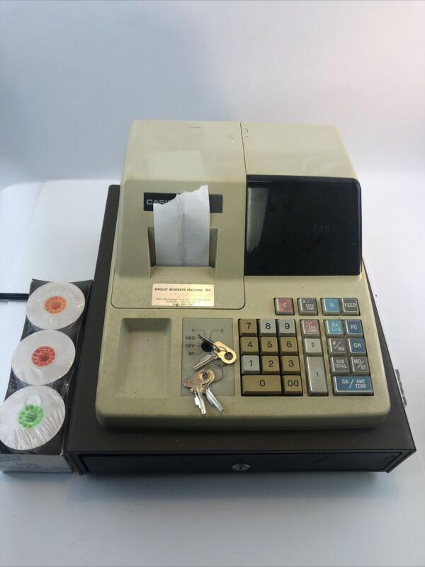 Casio PCR-202 Electronic Cash Register w/ Keys Power Tested+Works w/ Paper Rolls