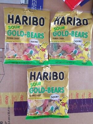 Haribo Sour Gold-Bears Gummi Candy, 4.5 OZ Best By 01/2019 (Lot of