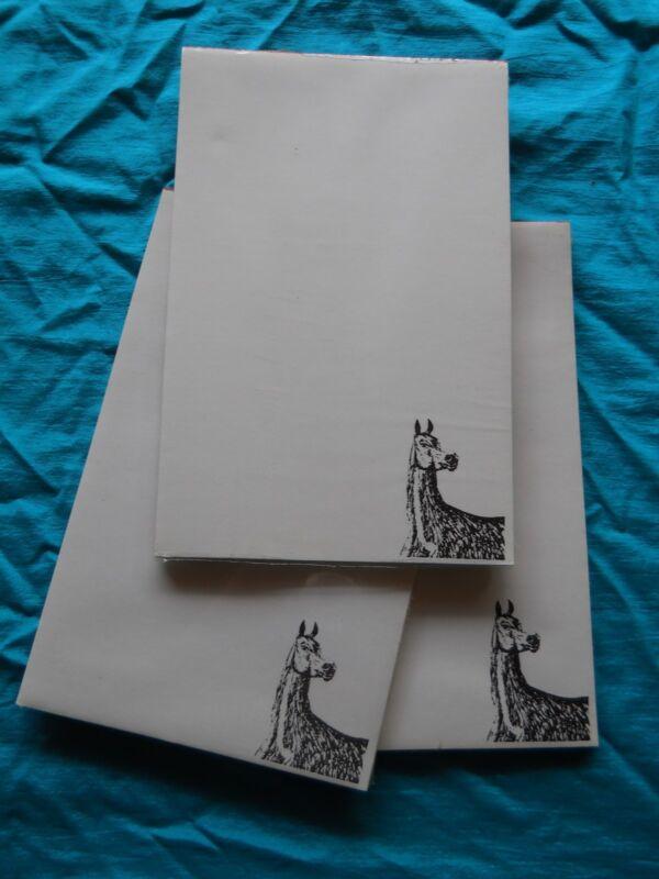 Arabian Horse Notepad 50 Sheets 8.5 x 5.5 New Black & White Drawing-3 pads