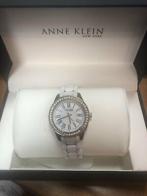 Anne Klein 12/2257SVST Womens 35mm Ceramic Watch & Crystal Bracelet
