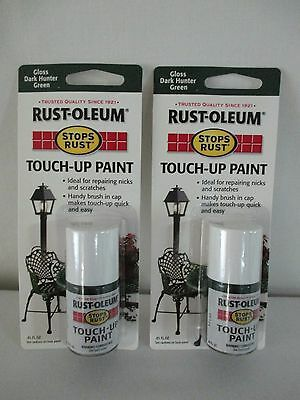 (*2* NEW RUST-OLEUM *STOPS RUST* TOUCH UP PAINT + BRUSH GLOSS DARK HUNTER GREEN )