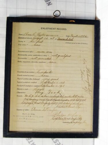 2x WWI orig docs enlistment record honorable discharge papers Elmer Talyor 72nd