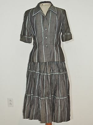 1940's Claire McCardell for Benham Gray Cotton Halter Dress w Jacket SM - MED
