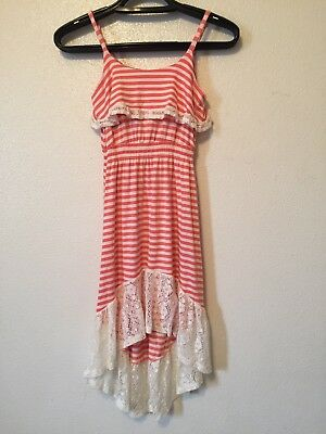 Haani Striped Lace Crochet Sundress Peach Ivory Girls Size 10