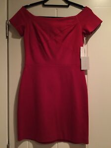 Red classic short dress- boat neck
